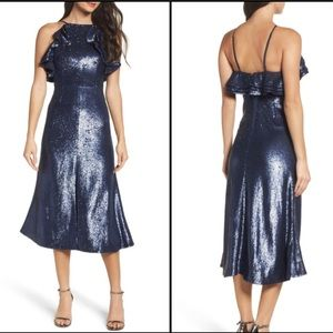 C/MEO Collective Illuminated Sequin Ruffle Dress